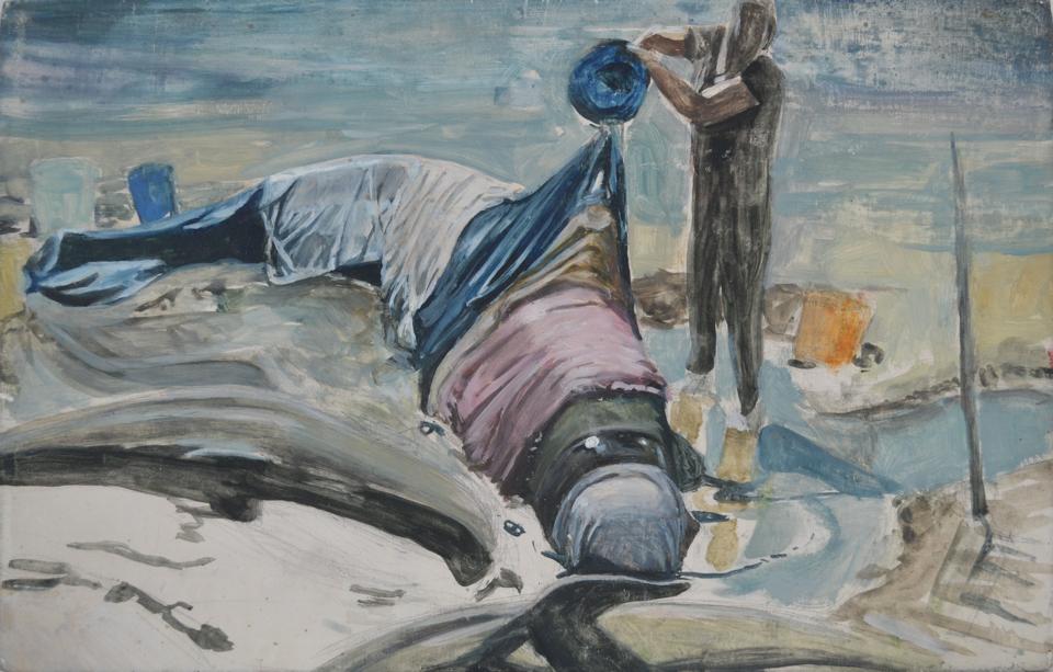 «esquise pour baleine» 27.5 x 18 huile sur bois
