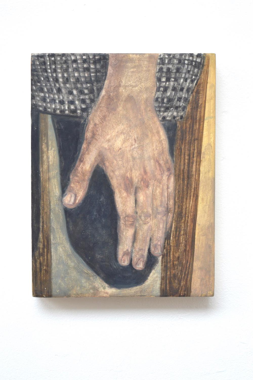 Main, 2017, 27 × 19 cm, huile sur bois
