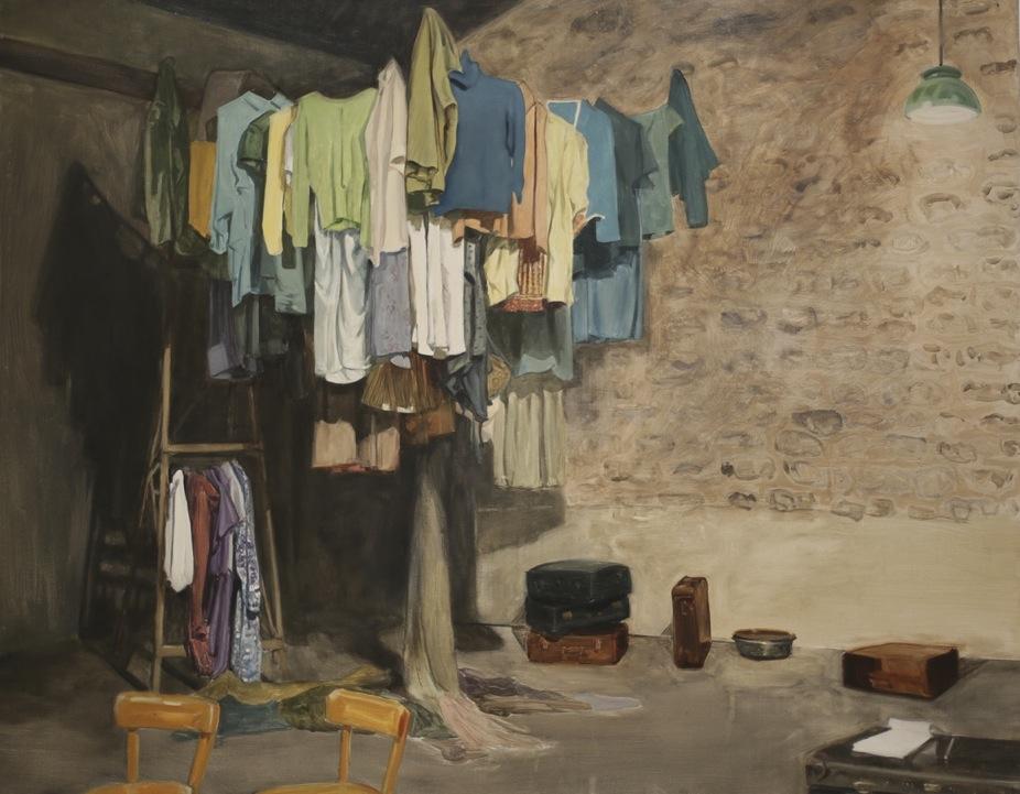 'L'âge de prune' -Une scénographie de Laurent Blondeau, 2013, 114×146 cm, huile sur toile