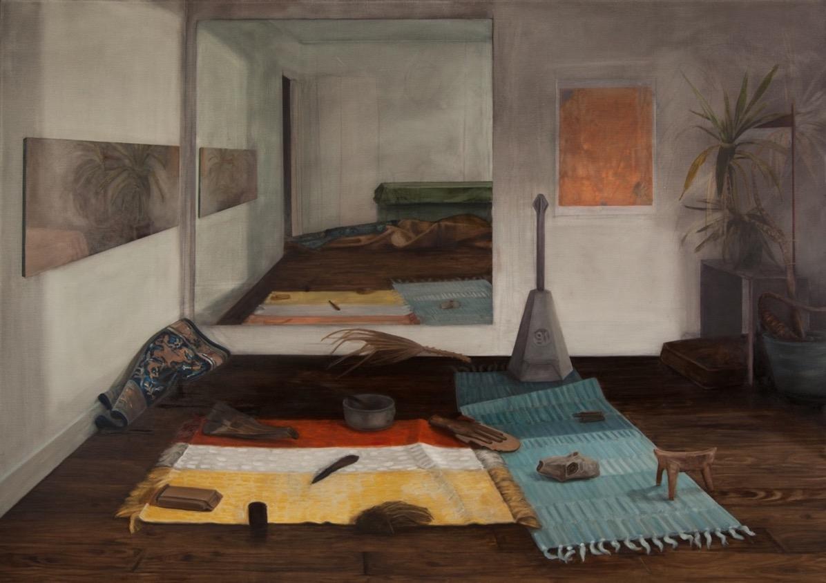 Nature morte, objets récupéré pendant la période du service dans le Neguev, 2015, 185 x 130 cm, huile sur toile