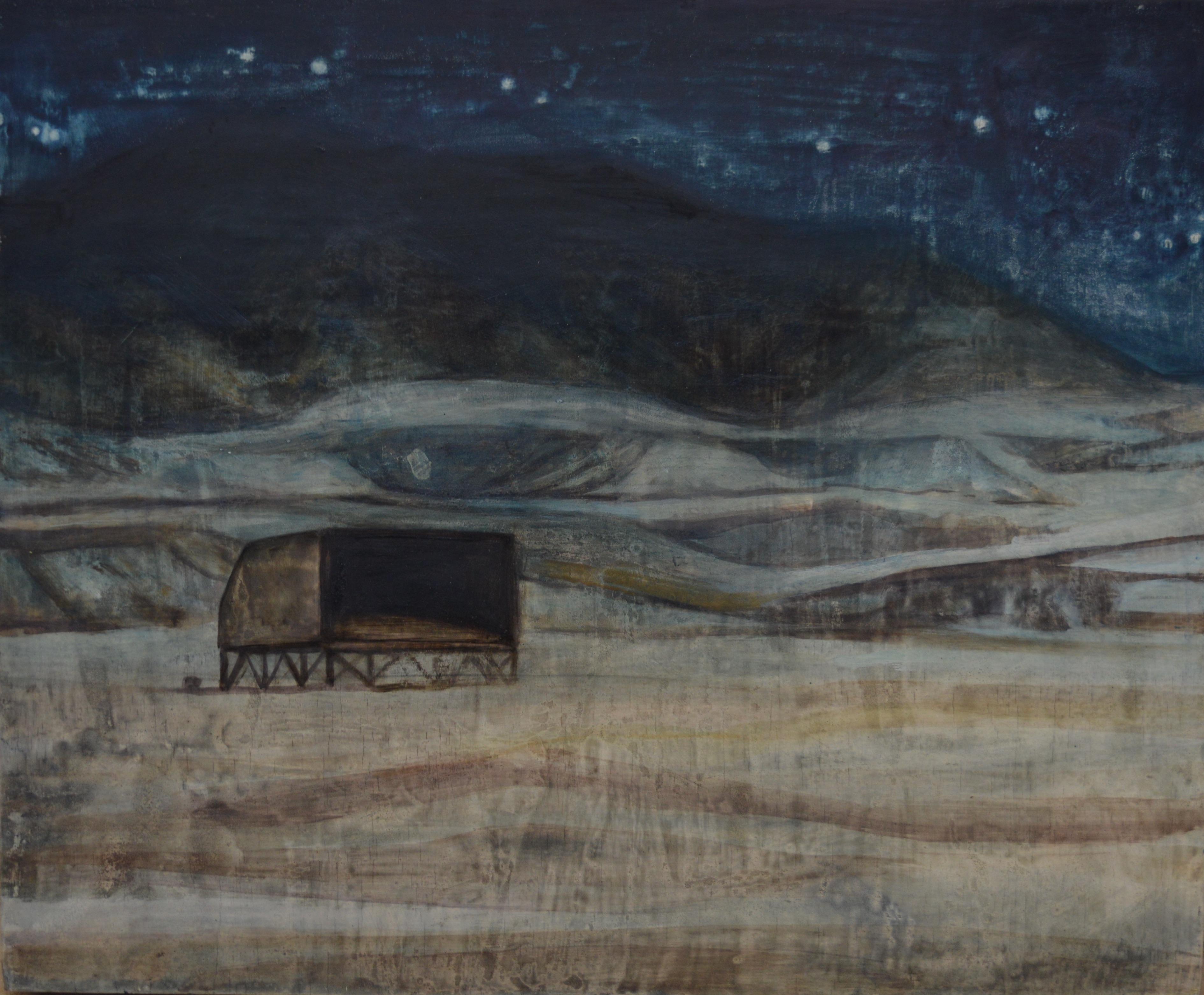 Nuit dans le Neguev, 2017, 46 × 38 cm, huile sur panneau de bois