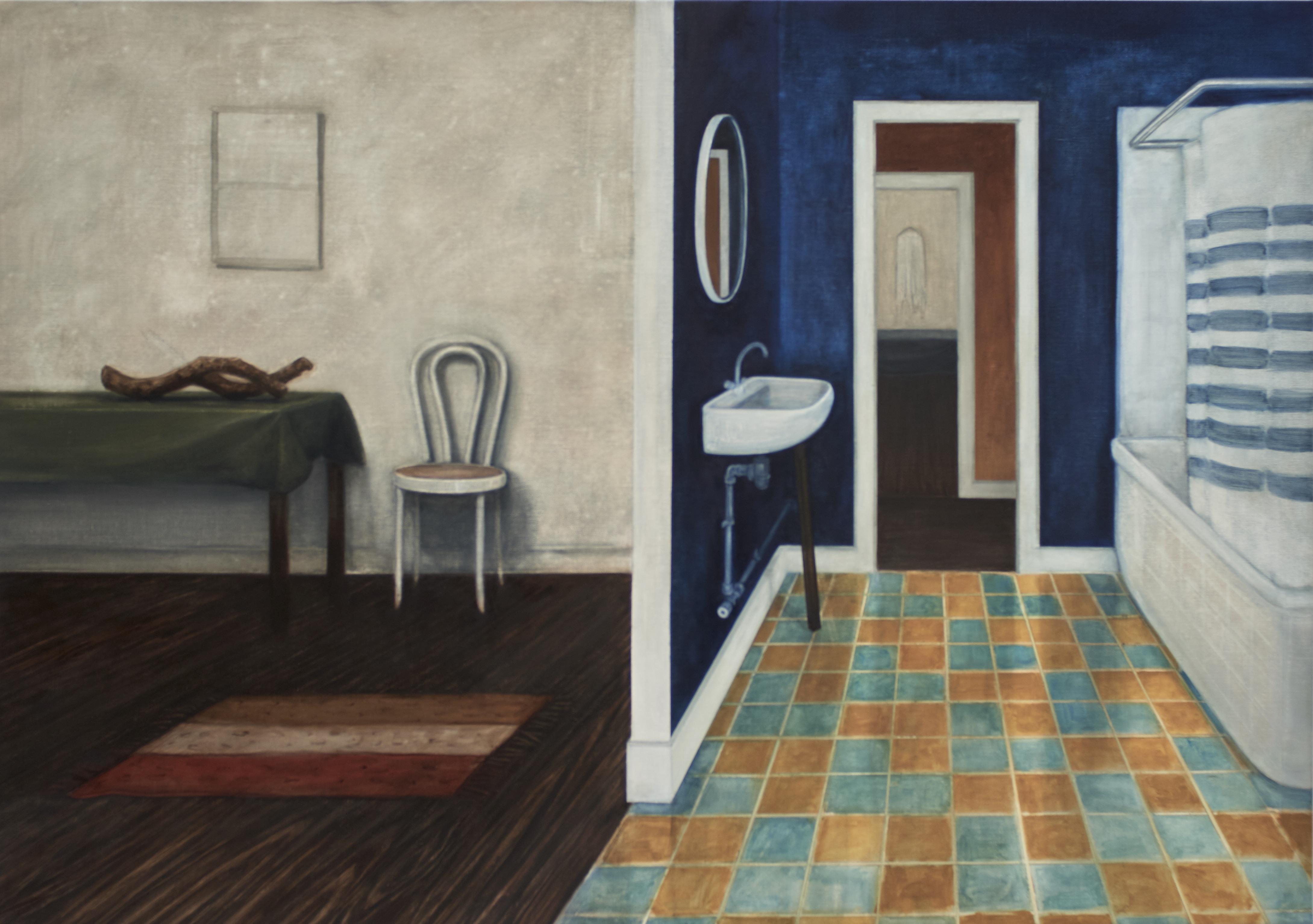 salle de bain, 2016, 130 x 185 cm, huile sur toile