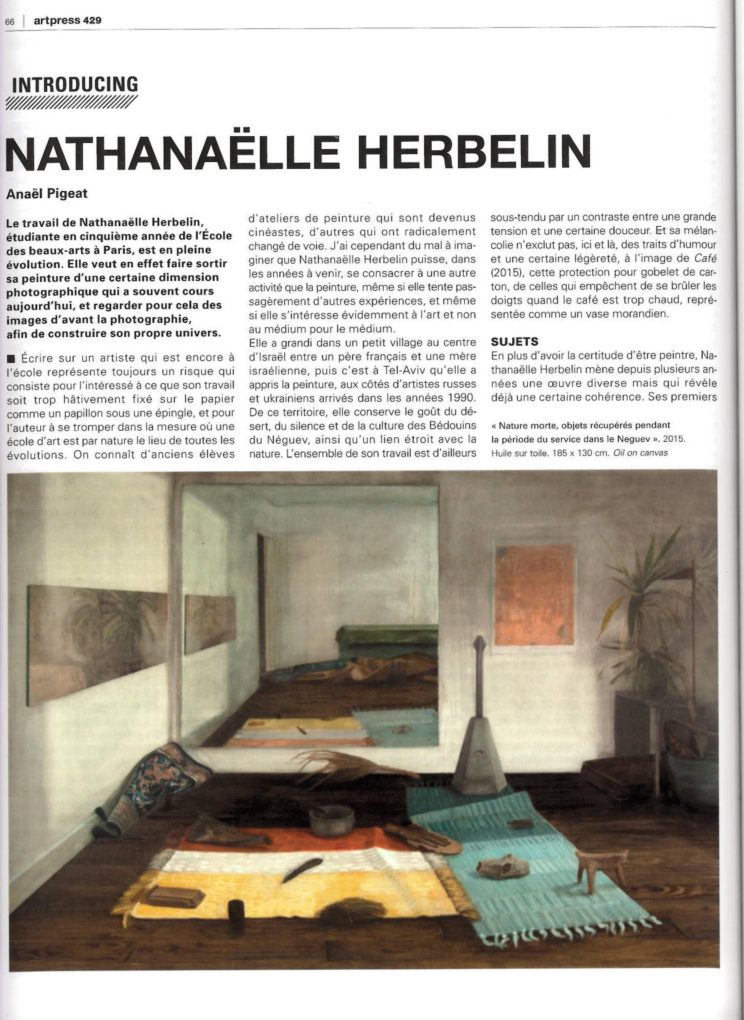Artpress : Nathanaëlle Herbelin1