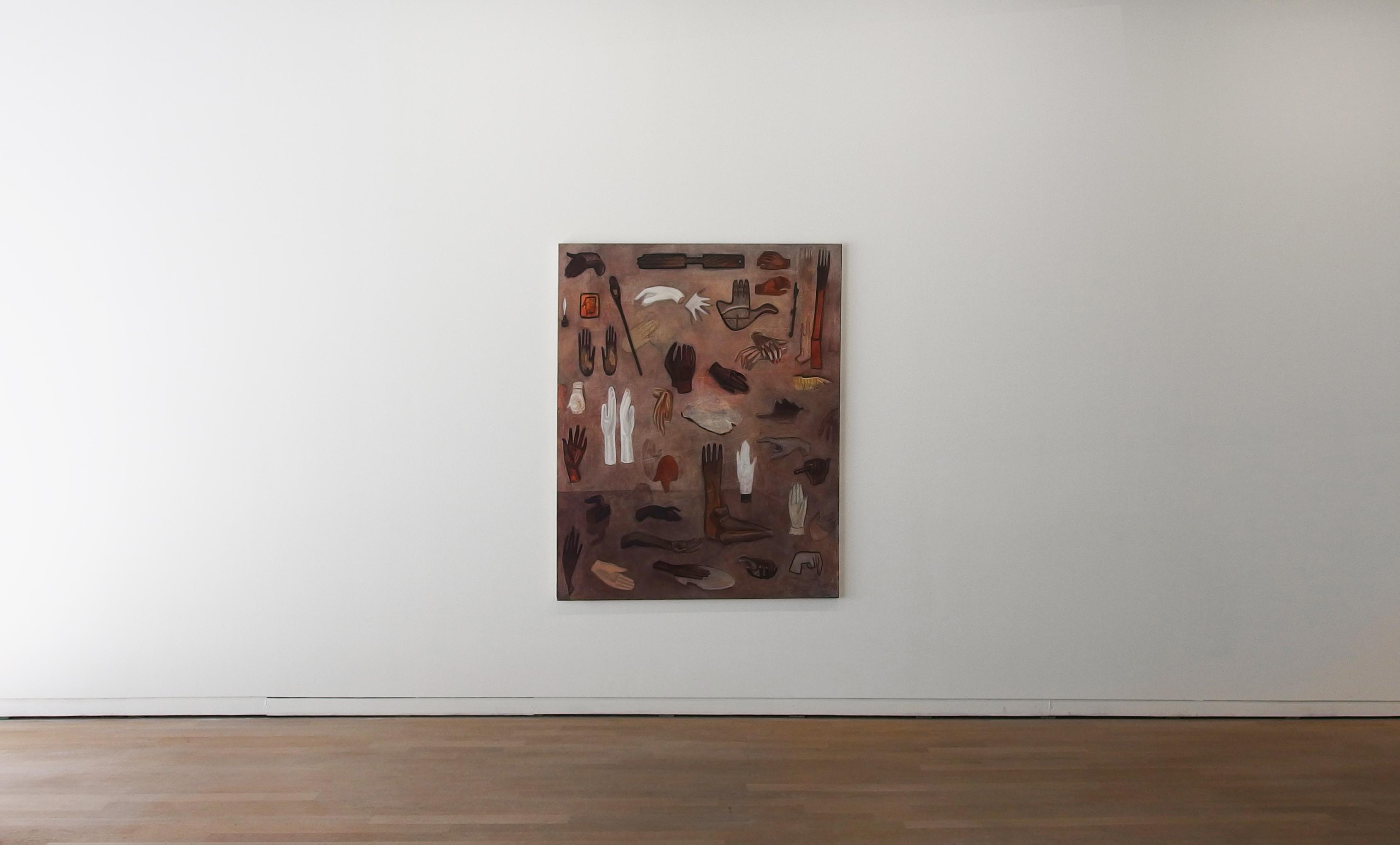 Mains de la collection Fabrice Roger Lacan, 2017, 162 x 130 cm, huile sur toile