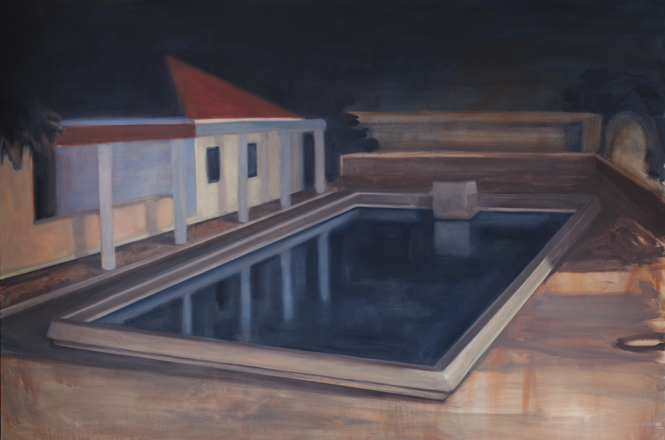 Pool in Lisbon, 2017, 195 x130 cm, oil on canvas. Photo by © Lionel Samain