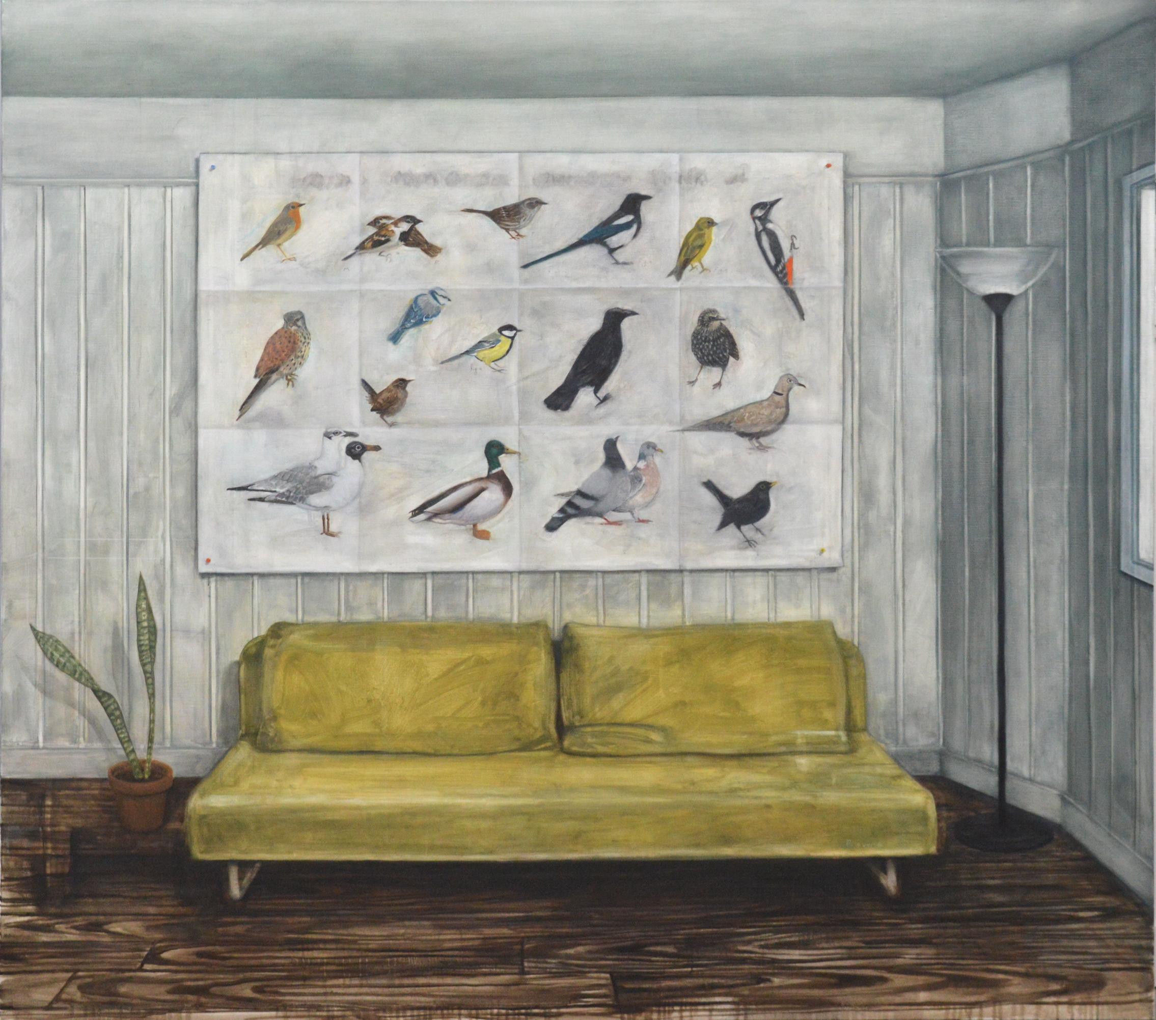 (La Conférence des) Oiseaux de Paris et de sa banlieue , 2018, 160 x180 cm, oil on canvas